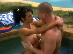 Gorgeous Babe Has Sex And Squirts At Poolside