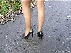 Walk In Miniskirt Seamed Pantyhose