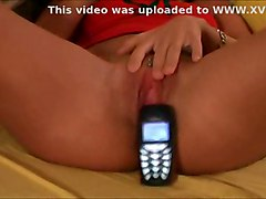 Amateur Girl Toying With Nokia