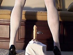 Shari A Sissy Maid Riding Dildo