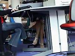 Super Hot Legs Mature   Up Skirt Under The Desk