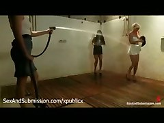 Two Babes Stripped And Hosed In Group Shower