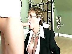 Mature Lady Wearing Glasses Gives A Wonderful Blowjob