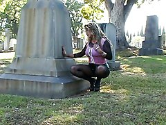 Playing With Her Pussy In The Cemetery