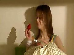 Horny Teen Inserting Strawberries