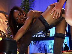 Stunning Ebony Girl And Lucky White Dick