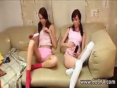 Two Russian Schoolgirls Trying Dildos