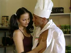 Slippery Anal Kitchen Threesome