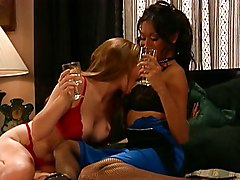 Lucky Guy Drops Into Girl-on-girl-action