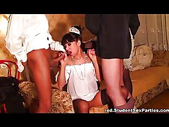 Maid In Lace Stockings Works Two Hard Dicks
