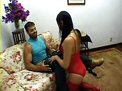Naughty Girl In Red Stockings Fucks Hard O.o