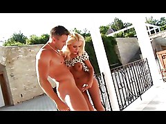 Blond Pussy Banged On The Porch