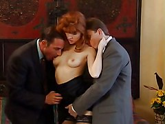 Fovéa - Redhead Lady Fucked By Two Guys