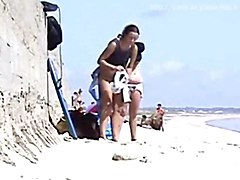2 Girls Changing At The Beach