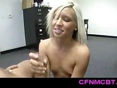 Small Tit Blonde Stroking Hard Dick