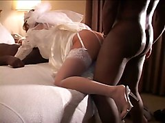 Cuckold Wedding Night With Two Black Cocks