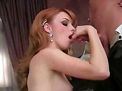 Young Redhead Chick Begins With Oralsex Then Gets Shaved Pussy Fucked Badly
