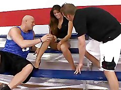 Sexy Brunette Woman Play Basketball And Sucks Guys On Court
