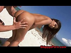 Asian Gets Cumshot On Beach