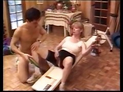 Mature Blond And Young Girl In Action .