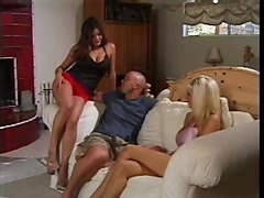 Two Gorgeous Babes Fucking A Man