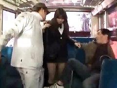 Schoolgirls Get Fucked In The Bus