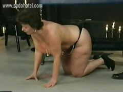 German Old Fat Slave Got Wooden Clamps And Candlewax On Her Very Big Tits And Got Hit With A Whip