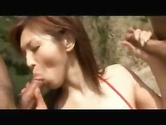Asian Babe Threesome Double Creampie Fucked At The Beach