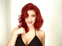 Gorgeous Red Head Strips To Bad Music