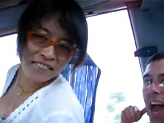Weird Man And His Asian Wife On A Bus Having Sex
