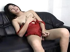 Lonely Asian Ts In Latex Dress Jerks