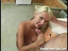 Blonde Gets Kitchen Creampie