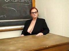 Busty Teacher Works Over Student