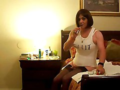 Amateur Crossdresser Smoking While Ass Toying