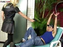 Blonde Tranny Makes Guy To Sex With Her