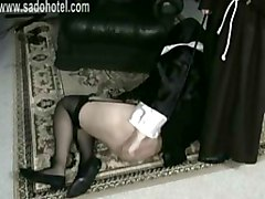 Naughty Nun Is Begging To A Priest But Still Got Spanked With A Wooden Stick
