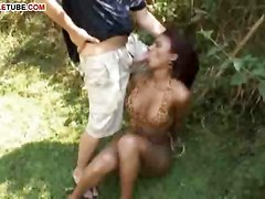 Outdoor Fucking For Busty Ladyboy