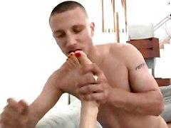 Chick Licks Dude Cum After Hard Footjob