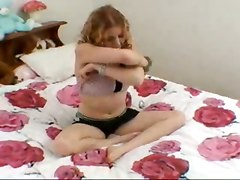 Naughty Red Head Toying In Bed