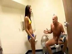 Heavy Handjob In A Toilet