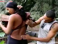Tranny Rides Dude Cock In The Forest