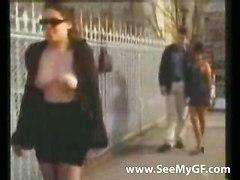 Girl Flashing Tits On A Public Bridge