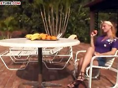 Anal Sex With Blonde Shemale On Terrace