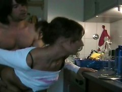 Amateur Couple Fucks In Kitchen