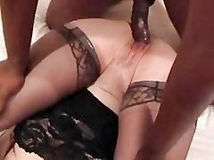 Amateur Interracial, White Wife Gets Creampie.