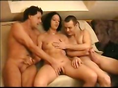 Hot Threesome Action Ending With Cumshots