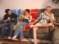 Brother Fucks Sister, Eats His Own Cum And Dad Watches Them